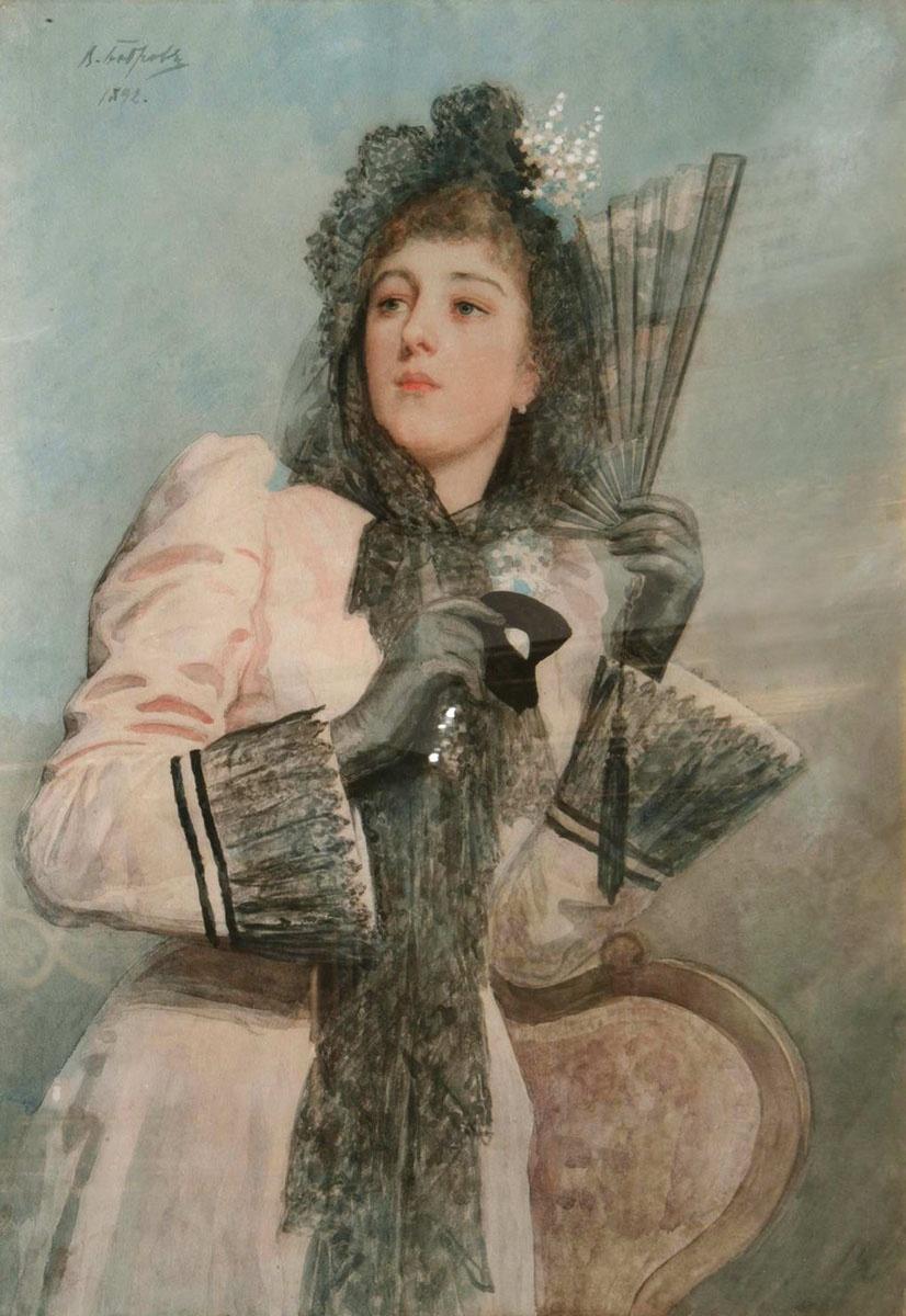 схема вышивки дама портрет