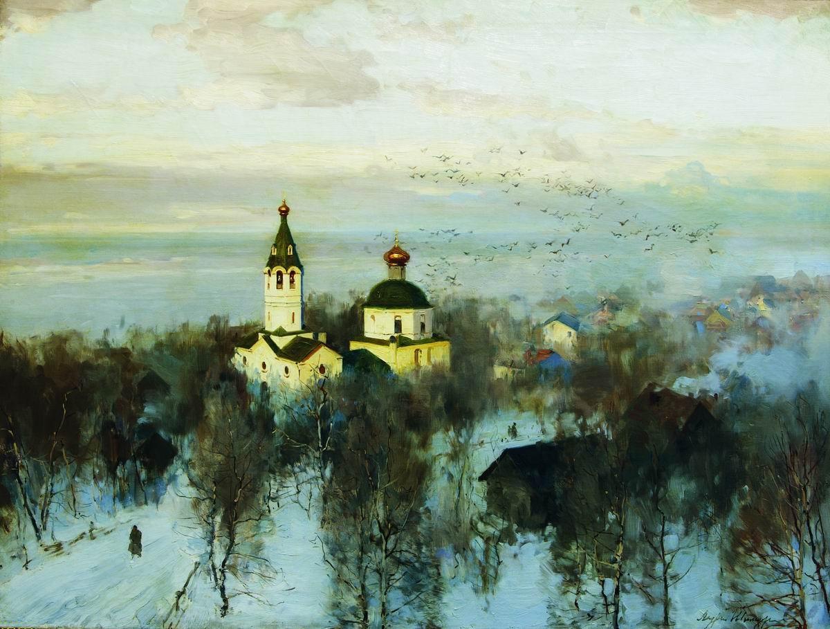 Пейзаж с белой церковью