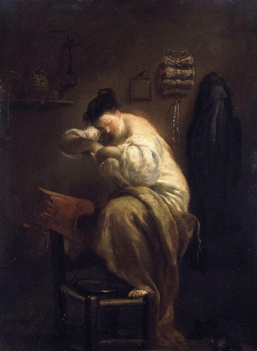 женщина ловящая блох картина