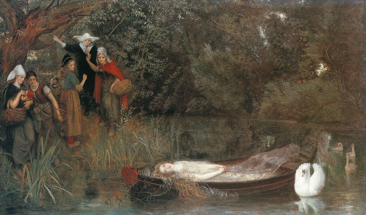 Synopsis The first four stanzas describe a pastoral setting The Lady of Shalott lives in an island castle in a river which flows to Camelot but little is known