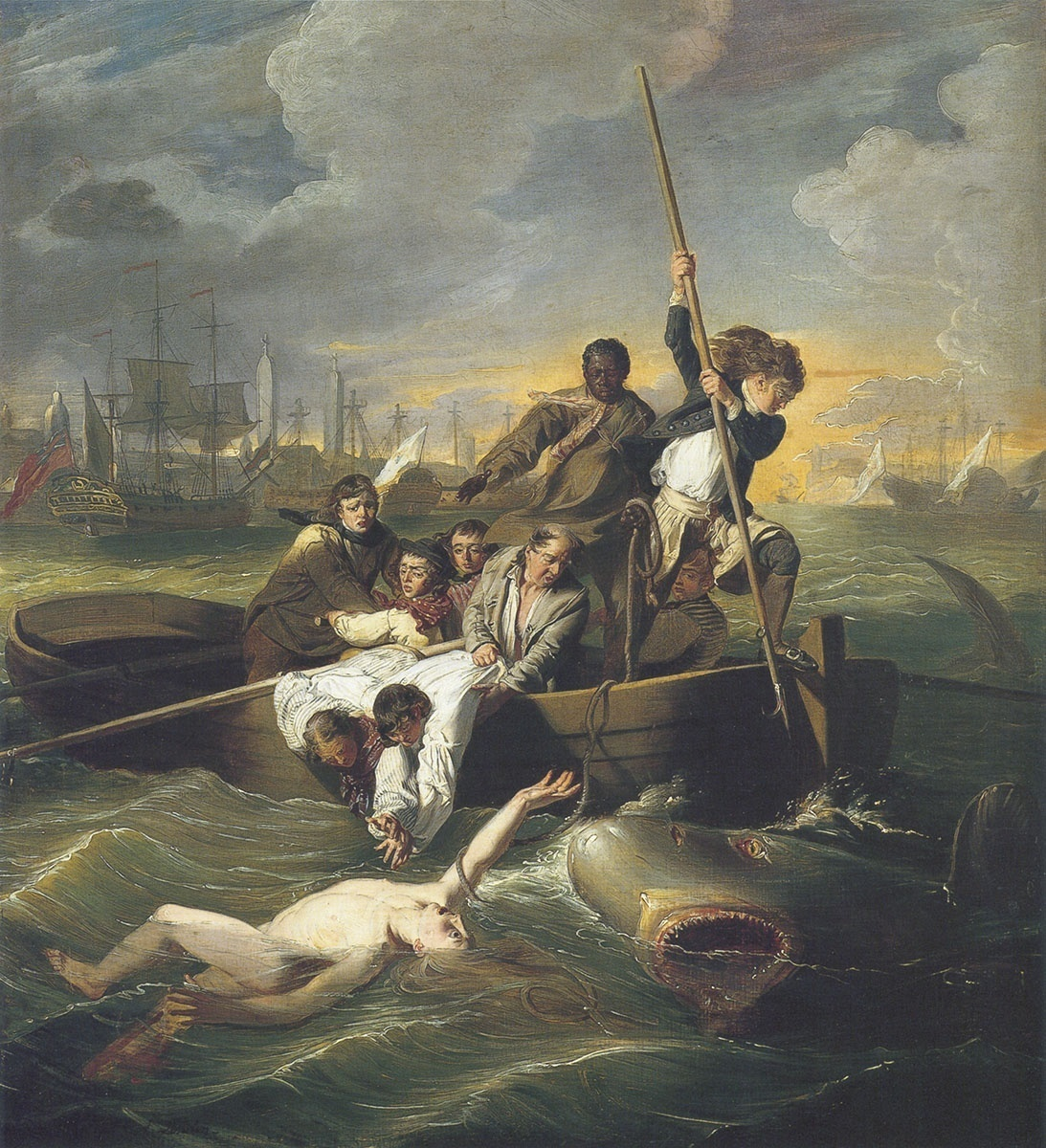 the struggle in watson and the shark a painting by john copley