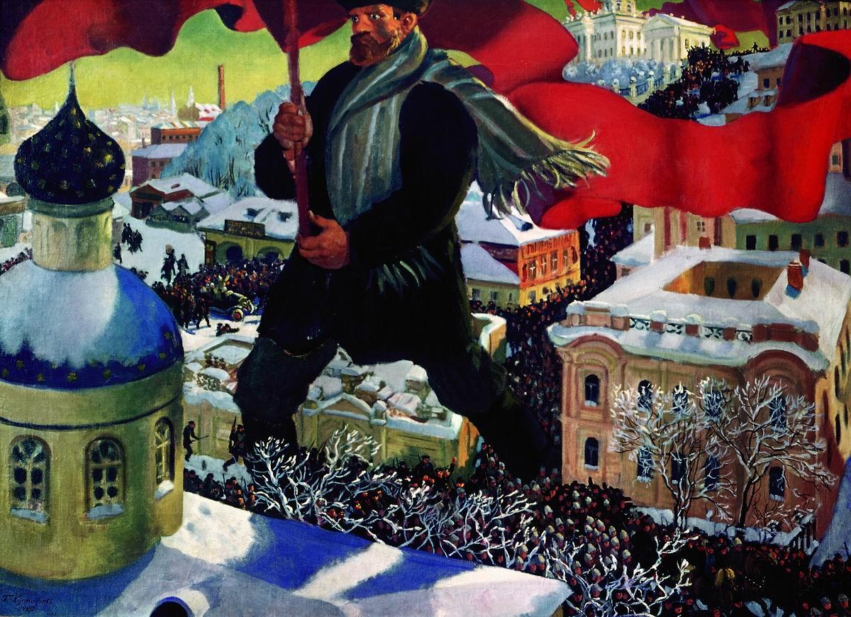 """Картина российского художника Кустодиева """"Большевик"""", 1920 год"""